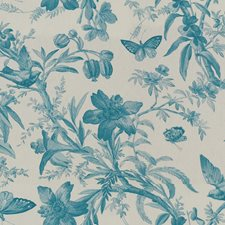 Turquoise/White Animal Decorator Fabric by Kravet