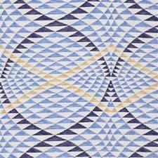 White/Blue/Yellow Modern Decorator Fabric by Kravet