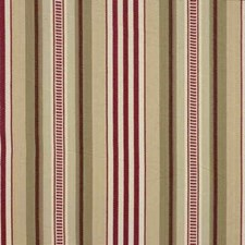 Red/Cream Stripes Decorator Fabric by Baker Lifestyle