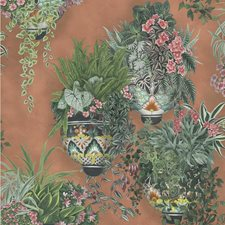 Rose/Spring Green On Terracotta Botanical Wallcovering by Cole & Son Wallpaper