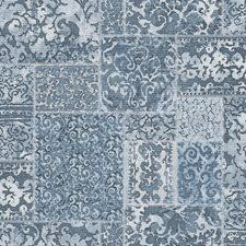 Blue Scroll Wallcovering by Brewster