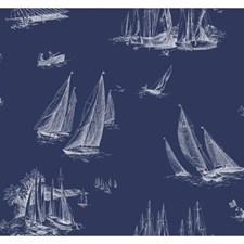 Navy/White Wall Decor Wallcovering by York