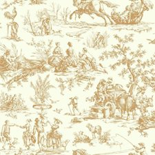 Gold Metallic/Off-white Toile Wallcovering by York
