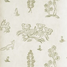 Basil Green Novelty Wallcovering by Andrew Martin Wallpaper
