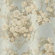 Cream/Aqua/Metallic Gold Damask Wallcovering by York