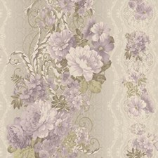 Metallic Beige/Cream/White Floral Wallcovering by York