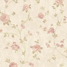 Beige Satin/Palest Pink/Pink Floral Wallcovering by York