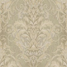 Metallic Gold/Taupe/Beige Damask Wallcovering by York