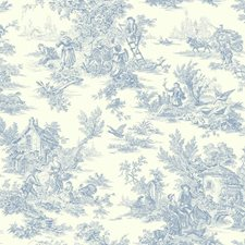 Blue/White Toile Wallcovering by York