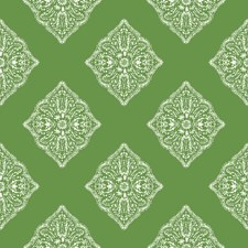Medium Green/White Geometrics Wallcovering by York