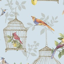 Songbirds On Blue Wallcovering by Scalamandre Wallpaper