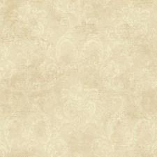 Ecru/Beige/Gold Damask Wallcovering by York