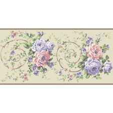 Cream/Lavender/White Floral Wallcovering by York
