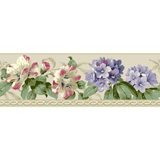 Pearl White/Lavender/Coral Floral Wallcovering by York