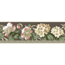Stone Taupe/White/Peach Floral Wallcovering by York