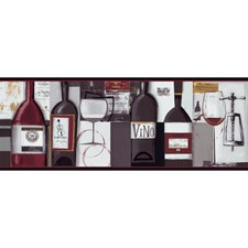 Black/Red Wine Bottles Wallcovering by York