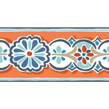 Orange/Blue Bohemian Wallcovering by York