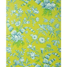 Aqua On Lime Toile Wallcovering by Brunschwig & Fils