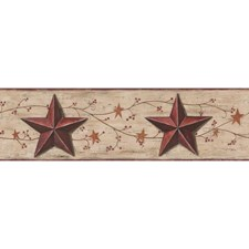 Brown/Red Stars Wallcovering by York