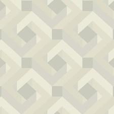 Gray/Beige/Off White Geometrics Wallcovering by York