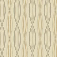 Beige Pearl/Dark Grey/Brown Geometrics Wallcovering by York