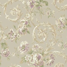 Pearl/Lavender Floral Medium Wallcovering by York
