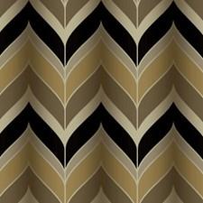Metallic Gold/Black/Cream Chevron Wallcovering by York