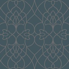 Satin Teal/Glittering Gold and Crystal Damask Wallcovering by York