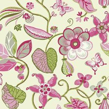 Cream/Sprout Green/Watermelon Floral Wallcovering by York