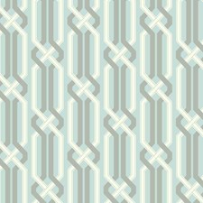 Aquamarine/Silvered Aqua/White Geometric Wallcovering by York
