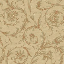 Beige/Grey/Red Scroll Wallcovering by York