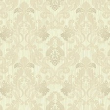 Cream/Beige/Gold Damask Wallcovering by York