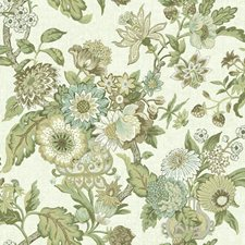 Cream/Dark Brown/Medium Brown Floral Wallcovering by York