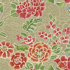 Beige/Tan Satin/Red Floral Wallcovering by York