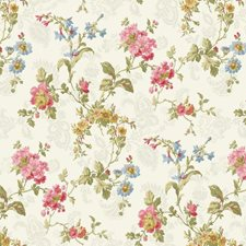 Pale Yellow/Grey/Yellow Floral Medium Wallcovering by York