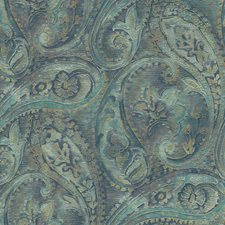 Teal/Deep Blue/Beige Paisley Wallcovering by York