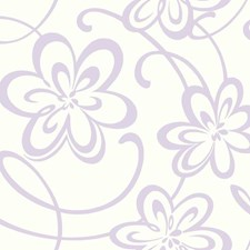 White/Lavender Glitter Children Wallcovering by York