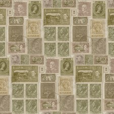 Dollar Bill Green/Antique White/Faded Mauve Novelty Wallcovering by York