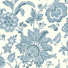White/Light Blue/Dark Blue Bohemian Wallcovering by York