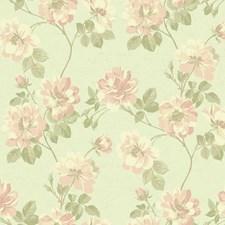 Silver/Cream/Peach Floral Medium Wallcovering by York