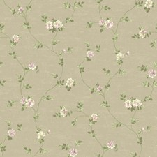 Taupe/Light and Medium Purple/Light and Medium Green Floral Wallcovering by York