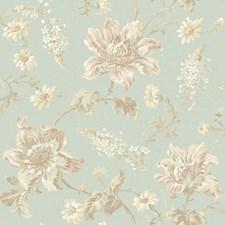 Aqua/White/Beige Floral Medium Wallcovering by York
