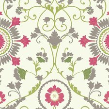 White/Pink/Grey Floral Medium Wallcovering by York