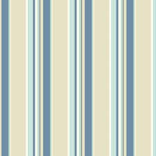 Cream/Medium Blue/Light Blue Stripes Wallcovering by York