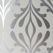 Dove Grey/Silver Foil Contemporary Wallcovering by York