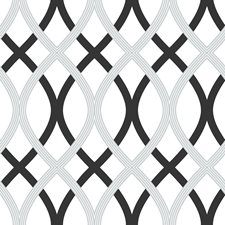 NU1658 Black and Silver Lattice Peel & Stick by Brewster