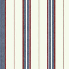 Cream/Red/Navy Blue Stripes Wallcovering by York