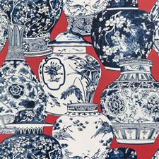 Chili/Blue Animal Wallcovering by Lee Jofa Wallpaper