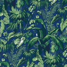 Blue Tropical Wallcovering by Brunschwig & Fils