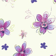 White/Purple/Magenta Floral Medium Wallcovering by York